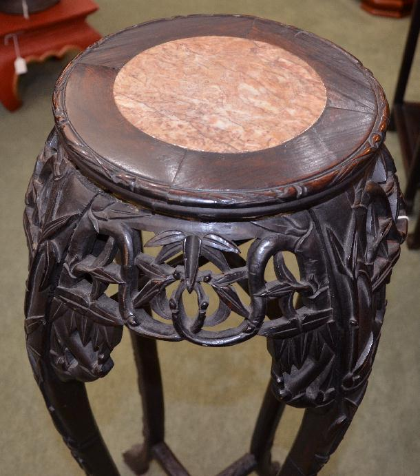 Chinese Carved Wood Fern Stand With Marble Insert Asian