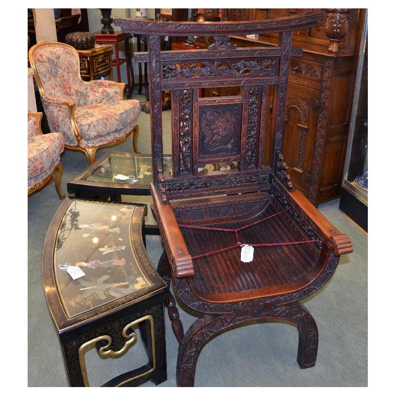 Home>Japanese Antiques>Japanese Carved Shrine Chair - Japanese Carved Shrine Chair - Asian Rarities Enterprises INC