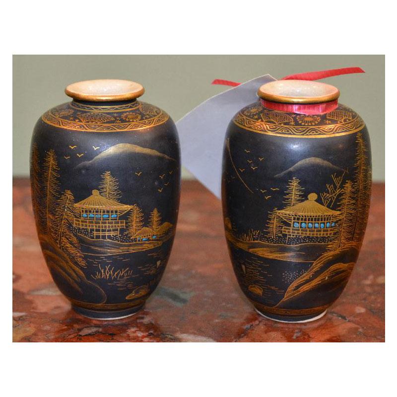 Pair Of Black Amp Gold Satsuma Vases Asian Rarities